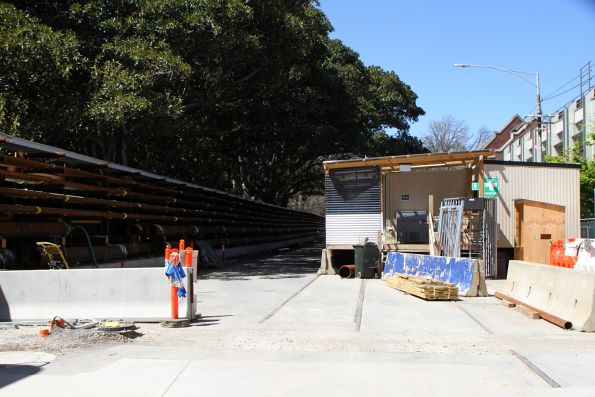 Redundant tram tracks still in place through the Metro Tunnel compound along Domain Road