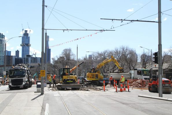 Ripping up the tram tracks at the southern end of the station box