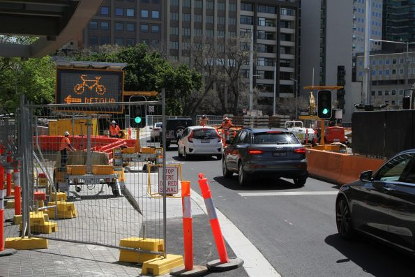 Cyclists detoured off St Kilda Road at Domain Interchange
