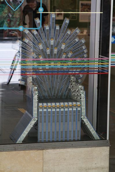 Cardboard HCMT models turned into a throne at the Metro Tunnel visitor centre
