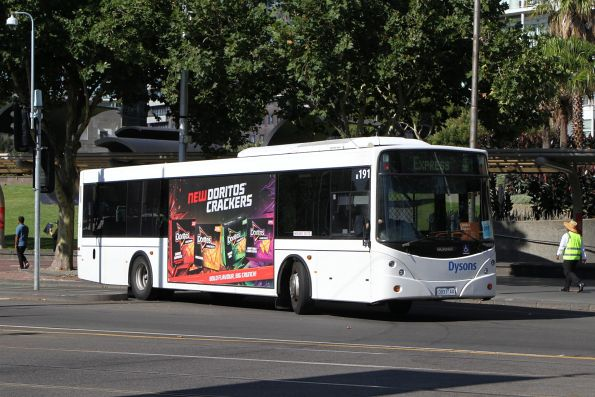 Dysons bus #191 0931AO departs the Arts Centre on a Frankston line rail replacement service