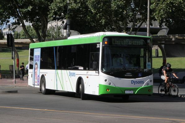 Dysons bus #282 4335AO departs the Arts Centre on a Frankston line rail replacement service