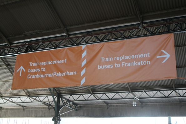'Train replacement buses: Frankston, Cranbourne/Pakenham lines' banner still in place at Flinders Street Station