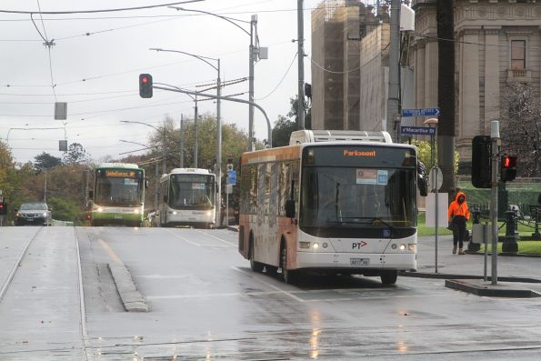 Ventura bus 6017AO on a Sandringham line rail replacement service at Spring and Collins Street