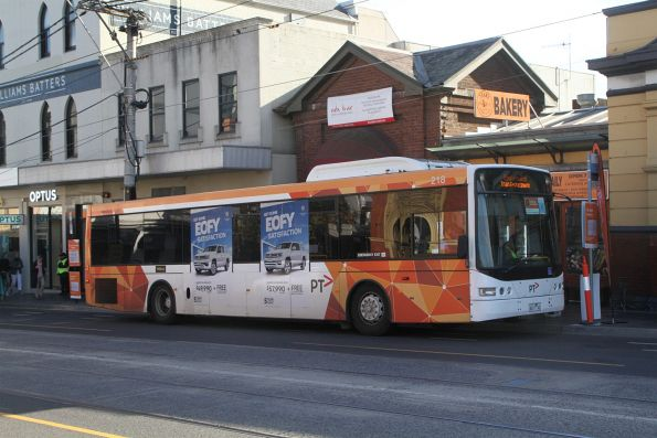 Ventura bus #218 6017AO on a Sandringham line rail replacement service at South Yarra