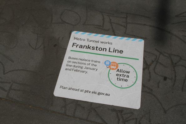 Metro Tunnel 'buses replace trains on the Frankston line' sign at Cheltenham station