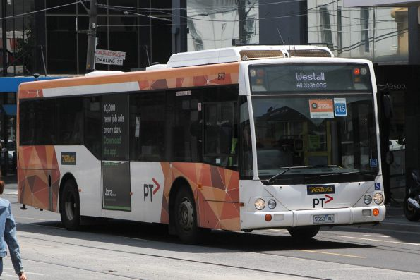 Ventura bus #873 5563AO pauses at South Yarra station on an all stations run to Westall