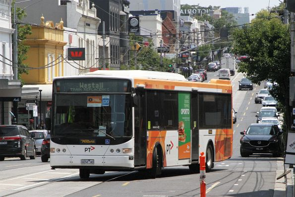 Ventura bus #754 6654AO arrives at South Yarra station on an all stations run to Westall