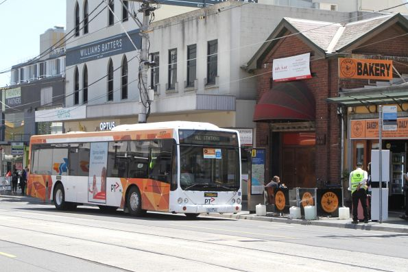 Ventura bus #1177 2523AO arrives at South Yarra station on an all stations run to Caulfield