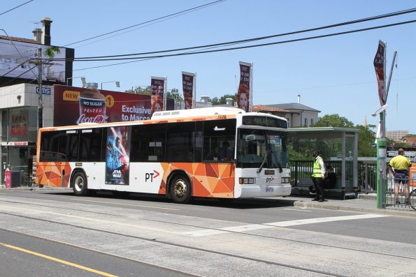 Ventura bus #1176 2668AO arrives at South Yarra station on an all stations run from Caulfield