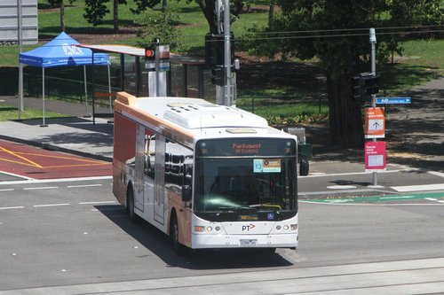 Ventura bus #1034 5396AO departs Richmond on an all stations run from Caulfield