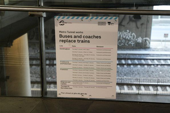 January 2020 bus replacement poster forgotten at Southern Cross