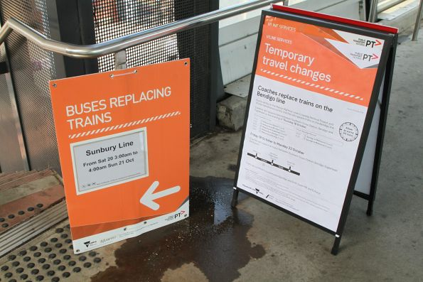 Notice at Footscray stations of rail replacement buses on the Sunbury and Bendigo lines
