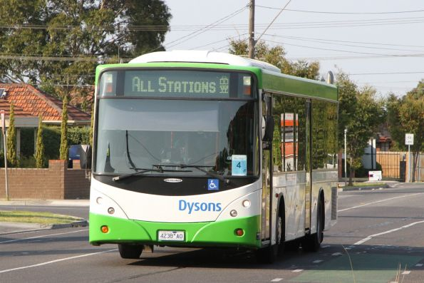 Dysons bus 4238AO on an all stations Sunbury line rail replacement service on Hampshire Road, Sunshine