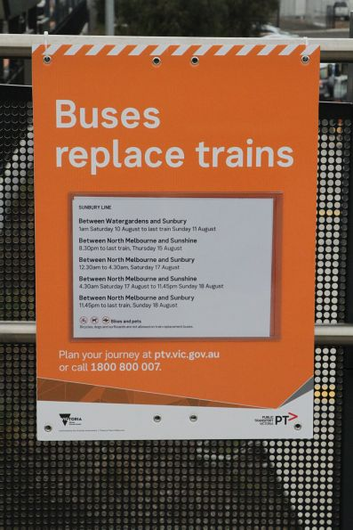 'Buses replace trains' signage at Sunshine station