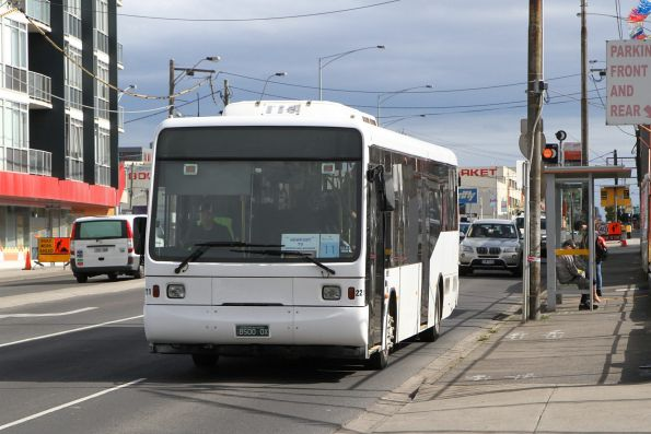 Sita bus #221 BS00OX on a Werribee line rail replacement service on Hopkins Street, Footscray