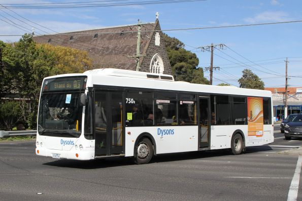 Dysons bus #750 3182AO on a rail replacement service on Hopkins Street, Footscray