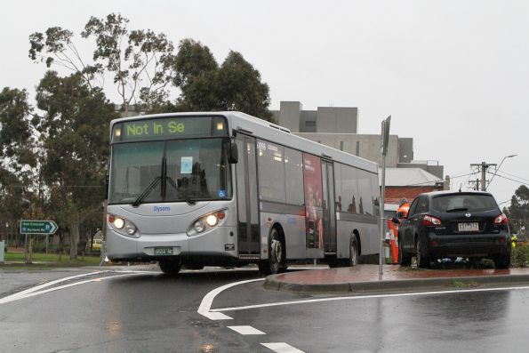 Dysons bus #1098 BS04NE on a Sunbury line rail replacement service arrives at Sunshine station