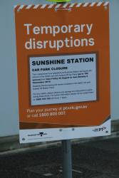Car park closure notice at Sunshine station, to allow rail replacement buses to use the space