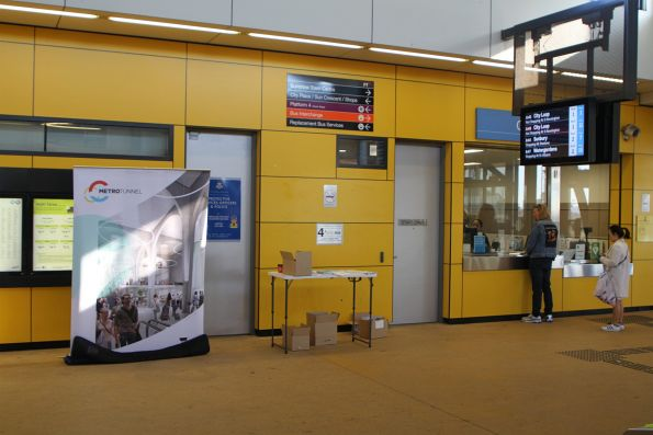Metro Tunnel information stand at Sunshine station in the lead up to two weeks of replacement buses