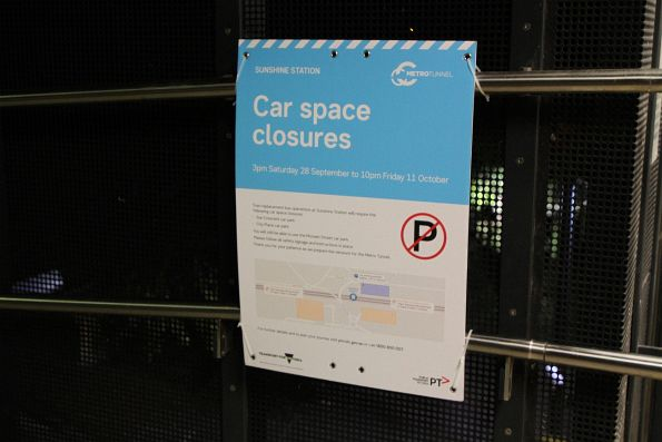 Car park closure notice at Sunshine station
