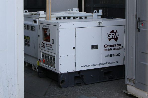 Diesel generator to power the portable lunch room at Sunshine station