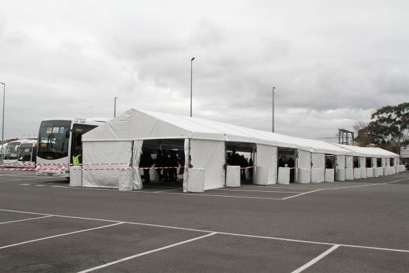 Shelters in the north-western car park for passengers boarding express buses