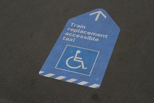 'Train replacement accessible taxi' sign at Sunshine station