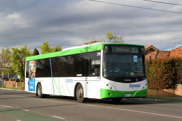 Dysons bus #298 5453AO on a Sunbury line rail replacement service along Hampshire Road, Sunshine