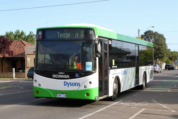 Dysons bus #184 0080AO on a Sunbury line rail replacement service along Hampshire Road, Sunshine