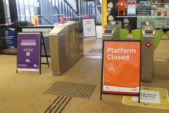 'Platform closed' notice on the concourse at Sunshine station
