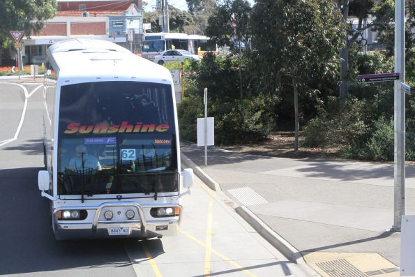 Sunshine Tours coach 8443AO arrives at Sunshine station on a V/Line rail replacement service