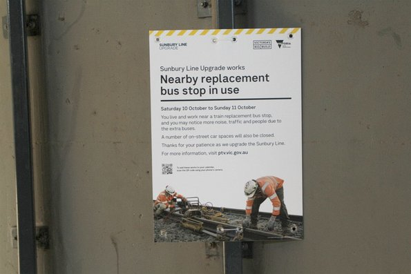 'Nearby replacement bus stop in use' notice at Sunshine station