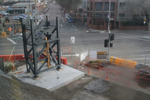 Steel towers ready to carry a temporary bridge over Kensington Road