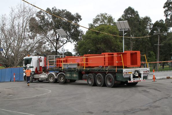 Semi trailer loaded with steel strutting for the TBM retrieval shaft