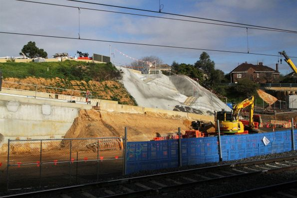 Excavation beside the Frankston line tracks to make room for the future track slew