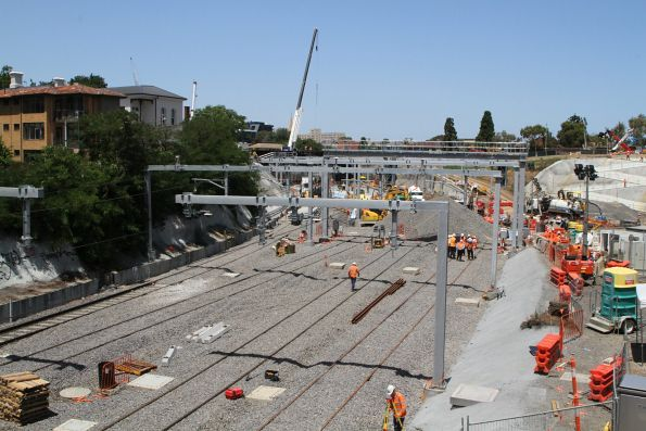 New track being laid around the future Metro Tunnel portal at South Yarra