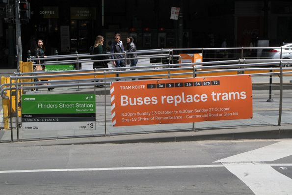 'Buses replace trams on routes 3, 3a, 5, 6, 16, 64, 67 and 72' notice at the Federation Square tram stop