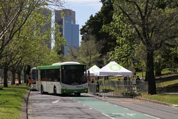 Dysons bus #184 0080AO on a tram replacement service along St Kilda Road
