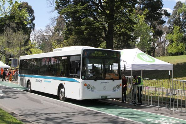 Nuline Charter bus #78 BS05IS on a route 72 tram replacement service along St Kilda Road