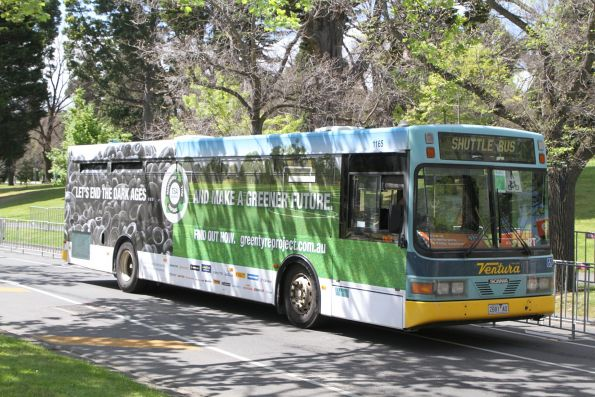 Ventura bus #1165 2681AO on a route 67 tram replacement service along St Kilda Road