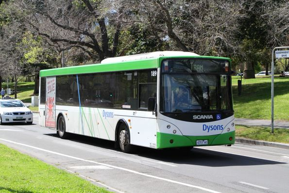 Dysons bus #189 4253AO on a tram replacement service along St Kilda Road