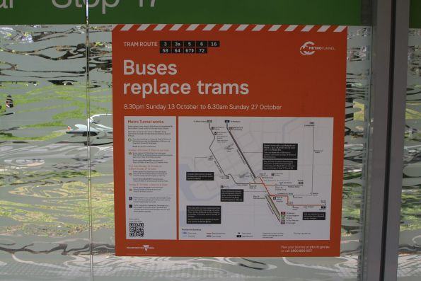'Buses replace trams due to Metro Tunnel works' notice at the St Kilda Road and Grant Street tram stop