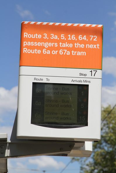'Take the next 6a or 67a service' notice at the St Kilda Road and Grant Street tram stop