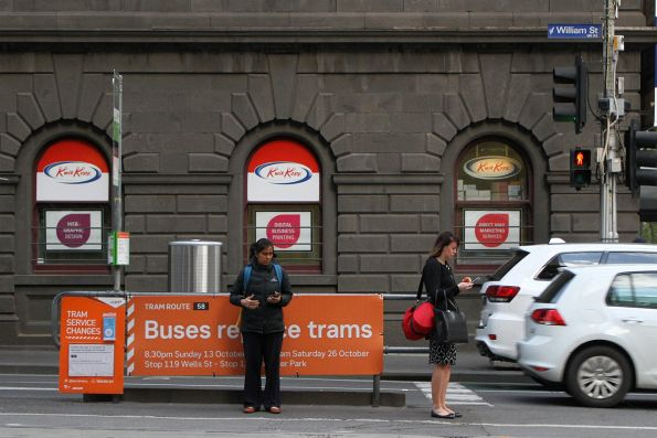 'Buses replace trams' signage on route 58 at William and Bourke Street