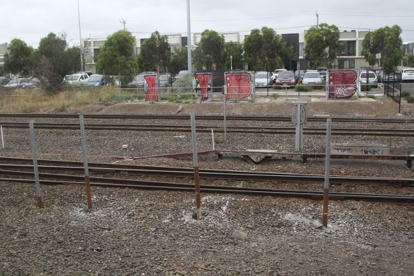 Fence posts beside the goods lines at the West Footscray turnback site