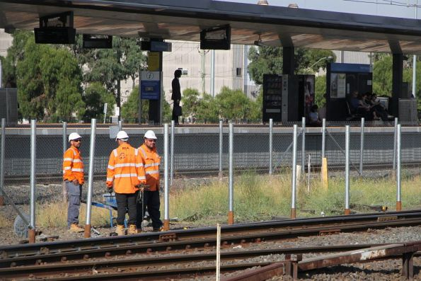 Installing fencing beside the goods lines at the West Footscray turnback site