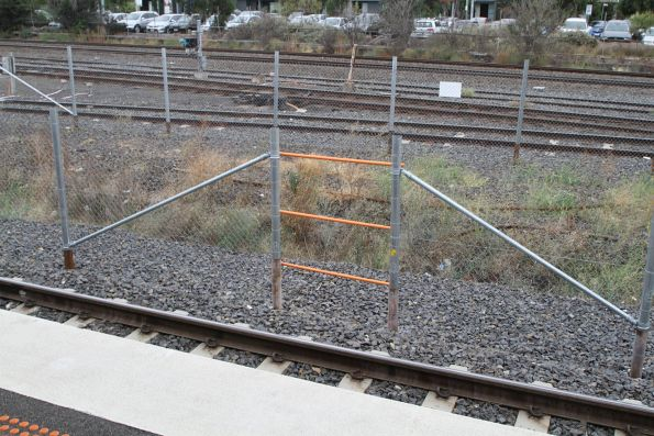 Refuge area beside the suburban tracks at West Footscray station