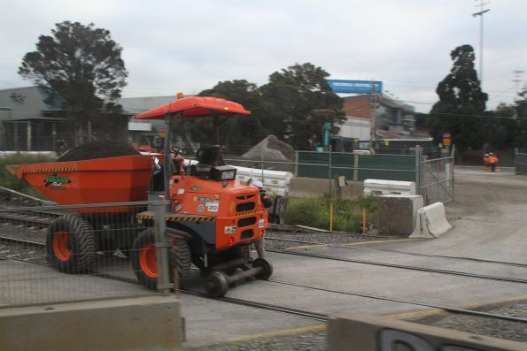 Mini hi-rail dump truck on the goods lines