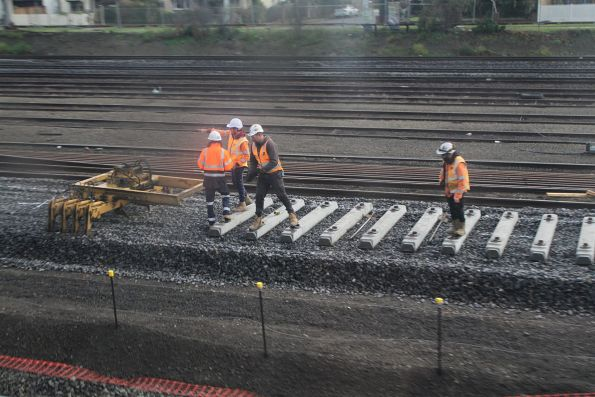 Sleepers laid for the replacement down independent goods line